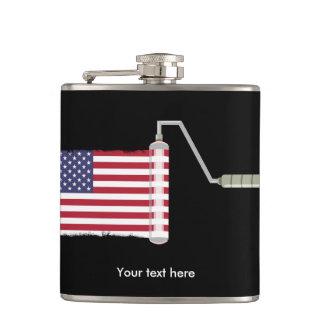 U.S.A. Flag Paint Roller Hip Flask