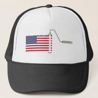 U.S.A. Flag Paint Roller Trucker Hat