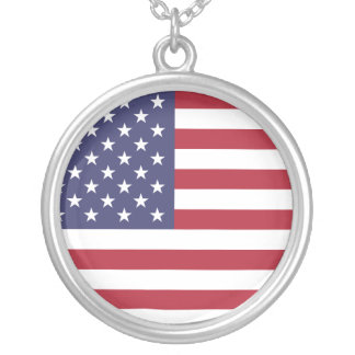 U.S.A. Flag Silver Plated Necklace