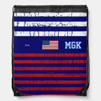 U.S.A flag, stripes & initials Drawstring Backpacks
