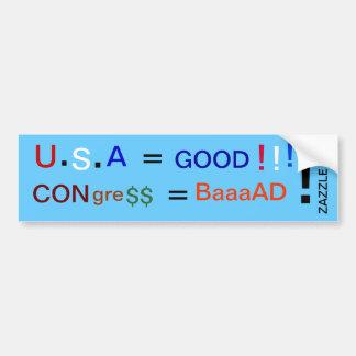 U, ., S, ., A, =, GOOD, !, !, !, ZAZZLE. Com, Bumper Sticker