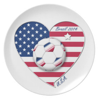 """U.S.A."" Soccer Team Soccer of the United States 2 Party Plate"