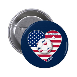 U.S.A. Soccer Team.  Soccer the United States 2014 6 Cm Round Badge