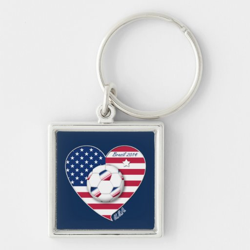 U.S.A. Soccer Team.  Soccer the United States 2014 Key Chain