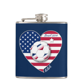 U.S.A. Soccer Team.  Soccer the United States 2014 Flask