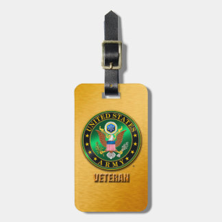U.S. ARMY VET Luggage Tag w/ leather strap