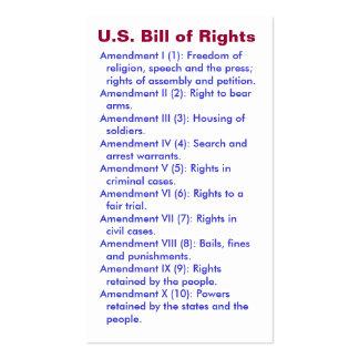 U.S. Bill of Rights ~ First 10 Amendments ~ Business Card Template