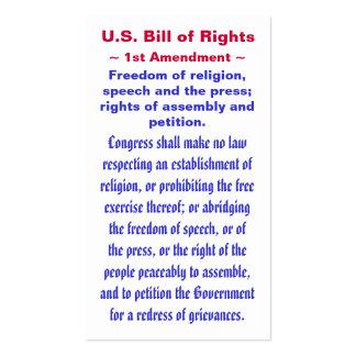 U.S. Bill of Rights, ~ First (1st) Amendment ~ Business Card Templates