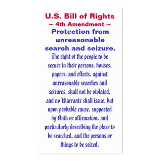 U.S. Bill of Rights, ~ Fourth (4th) Amendment ~ Business Card Templates