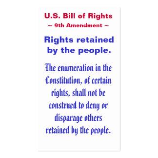 U.S. Bill of Rights, ~ Ninth (9th) Amendment ~ Pack Of Standard Business Cards