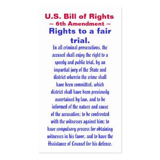 U.S. Bill of Rights, ~ Sixth (6th) Amendment ~ Business Card Templates