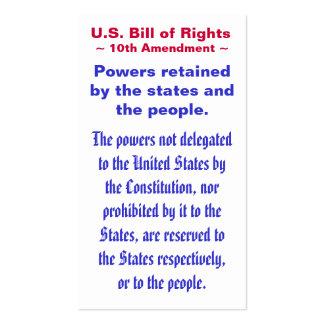 U.S. Bill of Rights, ~ Tenth (10th) Amendment ~ Pack Of Standard Business Cards