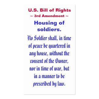 U.S. Bill of Rights, ~ Third (3rd) Amendment ~ Pack Of Standard Business Cards