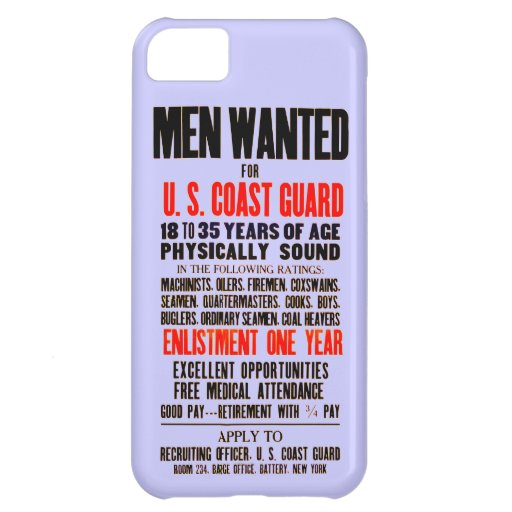 U.S. Coast Guard Men Wanted 1914 Cover For iPhone 5C