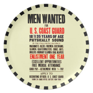 U S COAST GUARD MEN WANTED 1914 PARTY PLATE