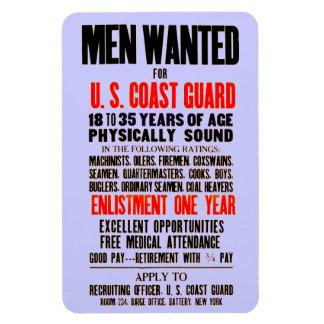 U S Coast Guard Men Wanted 1914 Rectangle Magnets