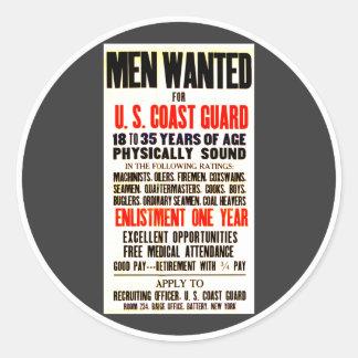 U S Coast Guard Men Wanted 1914 Round Stickers