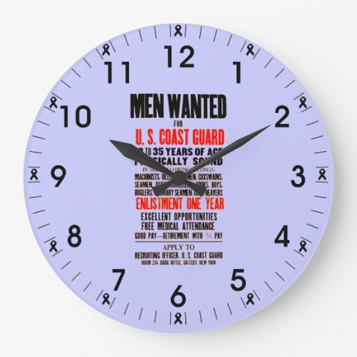 U.S. Coast Guard Men Wanted 1914 Wall Clock