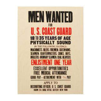 U S COAST GUARD MEN WANTED 1914 WOOD CANVAS