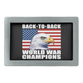 U.S. Flag & Eagle World War Champions Belt Buckle