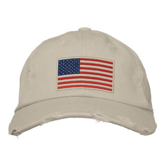 U.S. Flag Embroidered Distressed Hat
