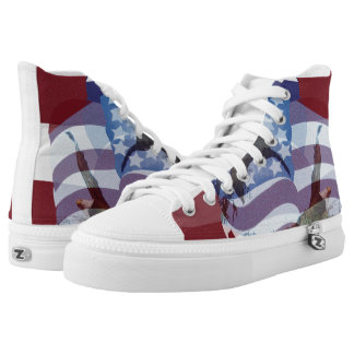 U.S. Flag High Top Shoes Red White Blue