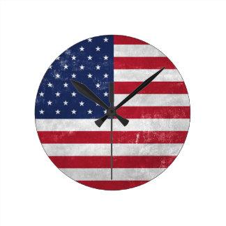 U.S. Flag Round Clock