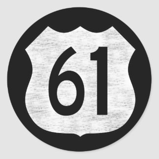 U.S. Highway 61 Route Sign Round Sticker