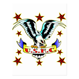 U.S.M.C. Old School Eagle Tattoo 2 Postcard