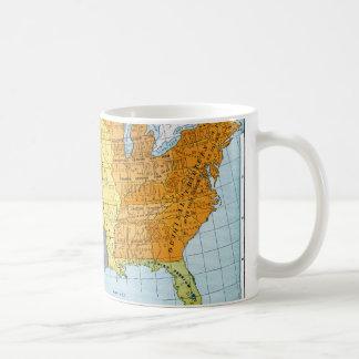 U.S. MAP, 1776-1884 BASIC WHITE MUG