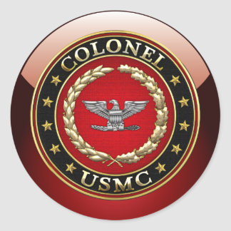 U.S. Marines: Colonel (USMC Col) [3D] Classic Round Sticker