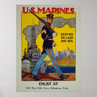 U.S. Marines Service On Land And Sea Vintage Poster
