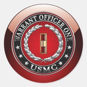 U.S. Marines: Warrant Officer One (USMC WO-1) [3D] Classic Round Sticker