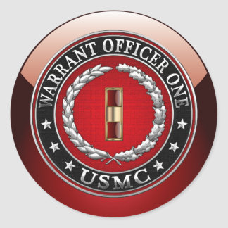 U.S. Marines: Warrant Officer One (USMC WO-1) [3D] Classic Round Sticker