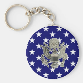 u.s. military insignia basic round button key ring