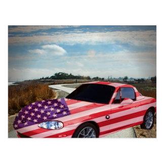 U S painted sport's car, postcard