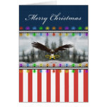 U.S. Patriotic Eagle Merry Christmas Greeting Card