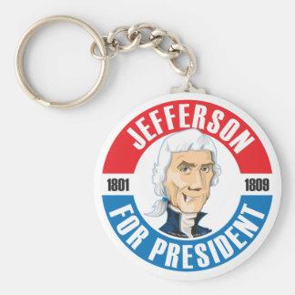 U.S. Presidents Campaign Keychain: #3 Jefferson Basic Round Button Key Ring