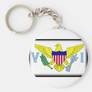 U.S. Virgin Islands Basic Round Button Key Ring