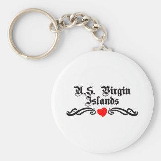 U.S. Virgin Islands Tattoo Style Basic Round Button Key Ring
