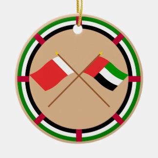 UAE and Dubai Crossed Flags Ceramic Ornament