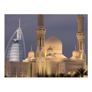 UAE, Dubai. Mosque in evening with Burj al Arab Postcard