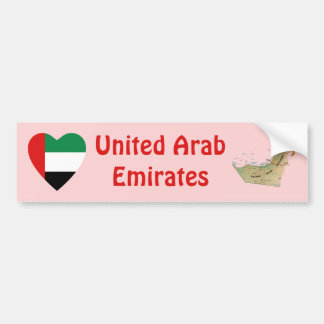 UAE Flag Heart + Map Bumper Sticker