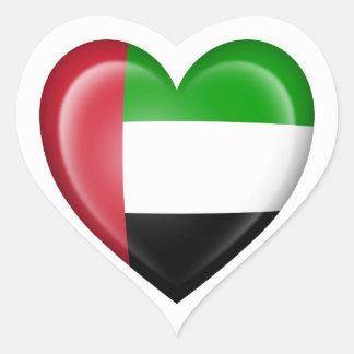 UAE Heart Flag on White Heart Sticker