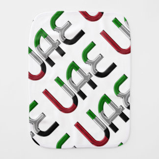 UAE United Arab Emirates Flag Colors Typography Burp Cloth