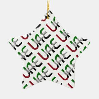 UAE United Arab Emirates Flag Colors Typography Ceramic Ornament