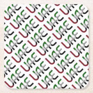 UAE United Arab Emirates Flag Colors Typography Square Paper Coaster