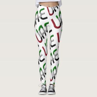 UAE United Arab Emirates Flag Typography Pattern Leggings