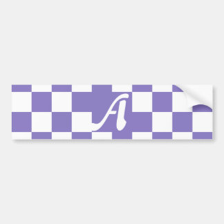 Ube and White Checkered Monogram Car Bumper Sticker