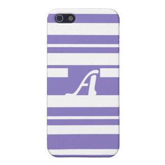 Ube and White Random Stripes Monogram Cases For iPhone 5